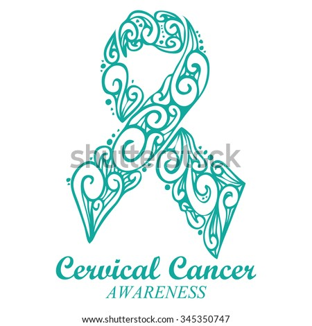 Teal White Ribbon Cervical Cancer Awareness Stock Vector