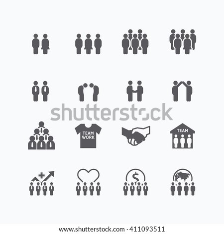 team and business silhouette icons flat line design vector set. teamwork to success concept. - stock vector