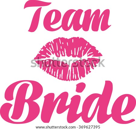 Team bride with kiss - stock vector