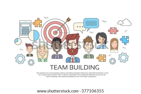 Team Building Concept Business Person Profile Thin Line Banner Icon Vector Illustration - stock vector