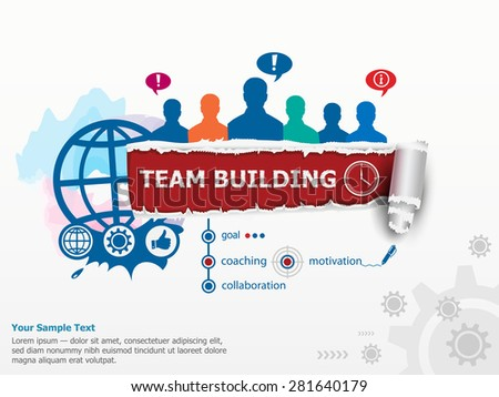 Team Building Graph concept and group of people. Set of flat design illustration concepts for business, consulting, finance, management, career, human resources.   - stock vector