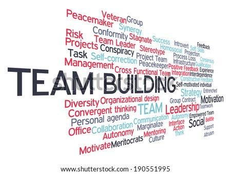 Team Building related word cloud tag concept in vector - stock vector