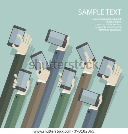 Team business concept, hands with phones, vector illustration - stock vector