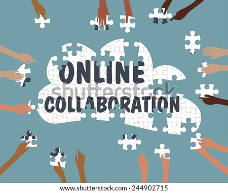 Team Collaboration concept with Hands online in the cloud jigsaw - Grouped and layered EPS10  - stock vector