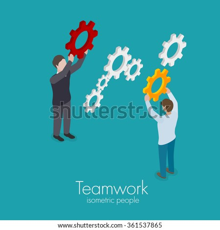Team concept key part in business men holding red gear in hand isometric vector illustration - stock vector
