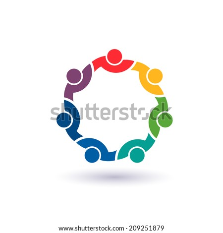 Team 7 congress.Concept group of connected people , happy friends, helping each other.Vector icon - stock vector