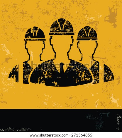 Team,engineering,Industry design on yellow background,grunge vector - stock vector