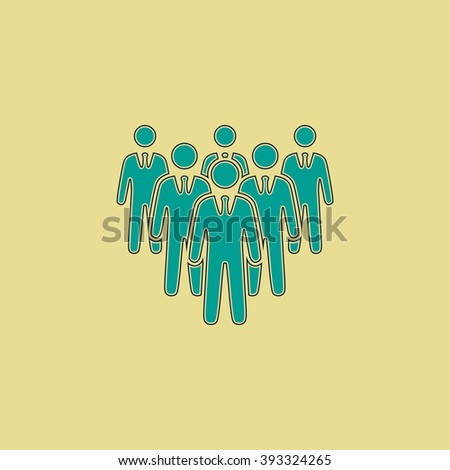 team Flat line icon on yellow background. Vector pictogram with stroke - stock vector