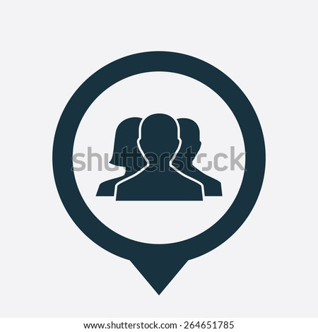 team icon map pin on white background  - stock vector