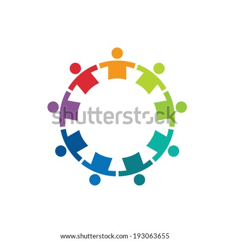 Team in a circle 9 image - Concept of union, strong, group of kids, children, immigration. Vector icon  - stock vector