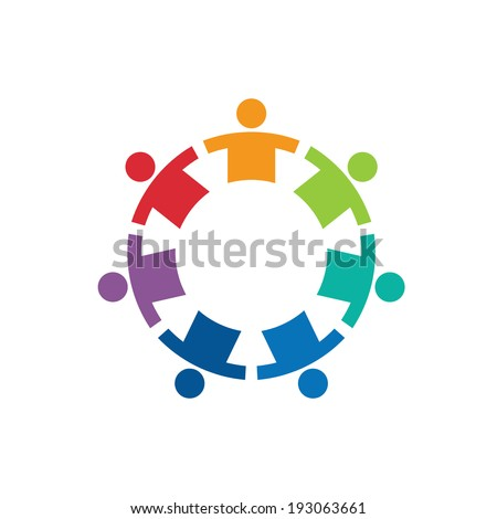 Team in a circle 7 image - Concept of union, strong, group of kids, children, immigration. Vector icon  - stock vector