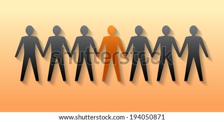 Team leader. Company boss. Teamwork. Vector Illustration. - stock vector