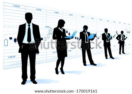 Team leader with business people - stock vector