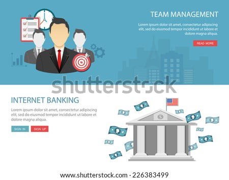 Team management and internet  banking flat banner.Eps10 - stock vector