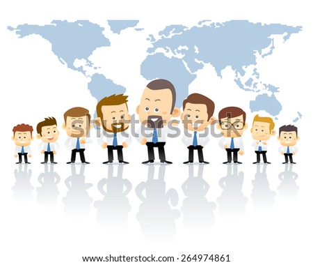 Team of businessman standing in front of world map. conceptual illustration - stock vector