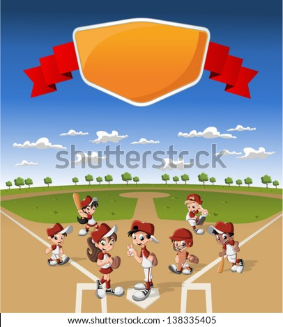 Team of cartoon children wearing uniform playing baseball on green field - stock vector