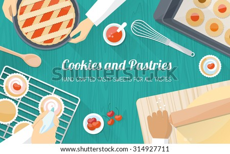 Team of chefs working together and cooking pastries, hands at work close up - stock vector