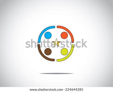 team of colorful diverse young people colleagues partners work together in a huddle holding hands to achieve success & excellence with golden star in the middle - concept illustration - stock vector