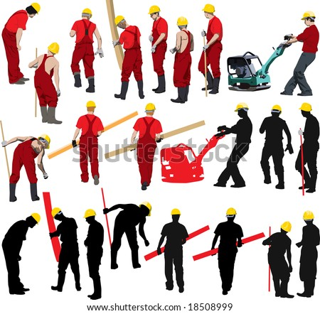 Team of Construction workers in red workwear an yellow helmets. Other vector illustrations & silhouettes of people in my portfolio. - stock vector