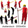 Team of Construction workers in red workwear an yellow helmets. Vector illustration and silhouettes - stock photo