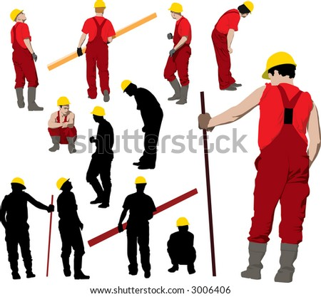 Team of Construction workers in red workwear an yellow helmets. Vector illustration and silhouettes - stock vector