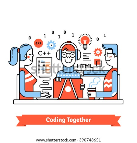 Team of developers working together on a new technology business project startup. Design, programming and management sitting at the same desk. Thin line art flat illustration with icons. - stock vector