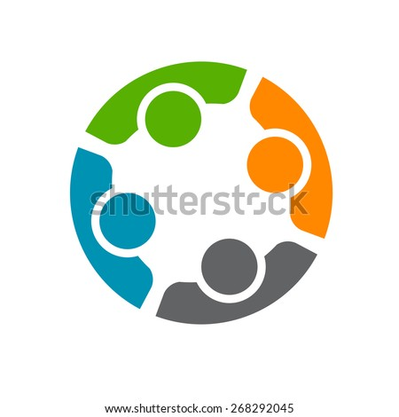 Team of four people. Concept of group of people meeting collaboration and great work. - stock vector