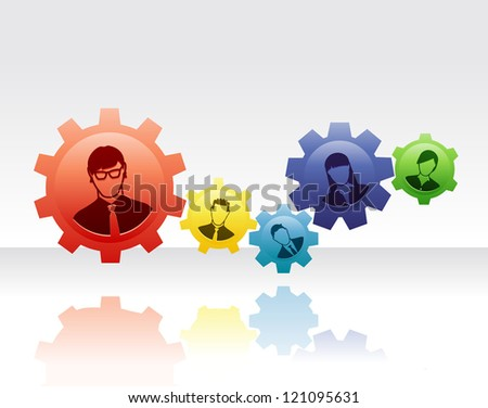 Team of people connected with gears to form a efficient and effective system - stock vector