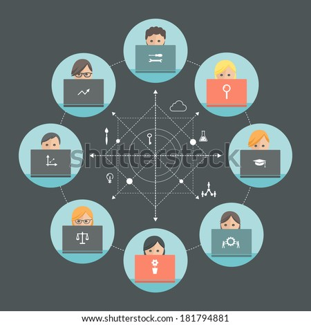 Team of People Working on Laptops. Team Roles and Teamwork Concept. Flat design - stock vector