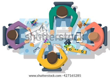 Team of people working together to plan repair project, construction of house. Teamwork on architectural planning. Architect designer, project drawings. Vector flat design. Architect workplace. - stock vector