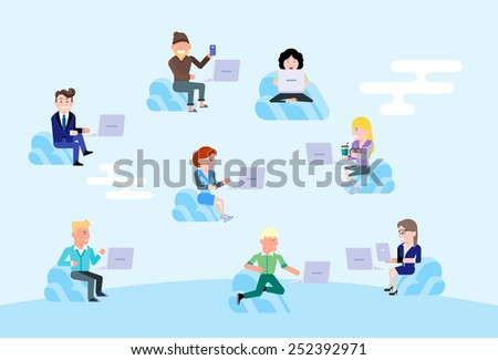Team of people working with laptop gadgets using data in the cloud. Using technology for work and play in open space. Modern Flat Vector Design Illustration. - stock vector