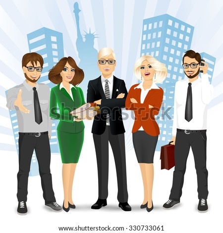 team of successful businesspeople standing in front of New York City - stock vector
