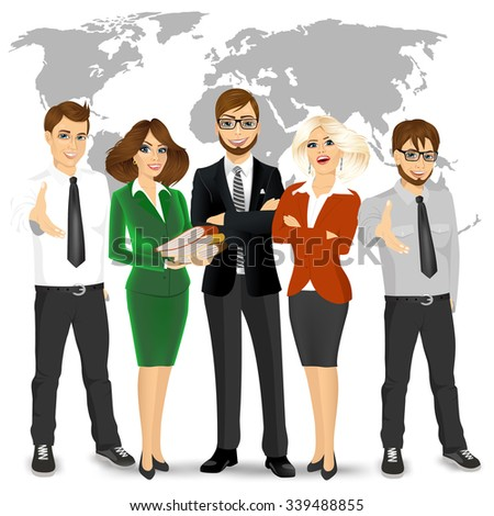team of successful businesspeople standing in front world map background - stock vector
