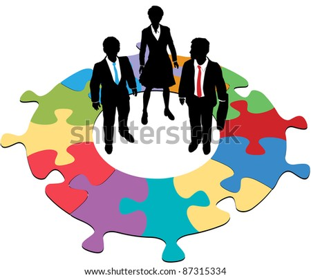 Team of three business people solve a circular jigsaw puzzle problem - stock vector