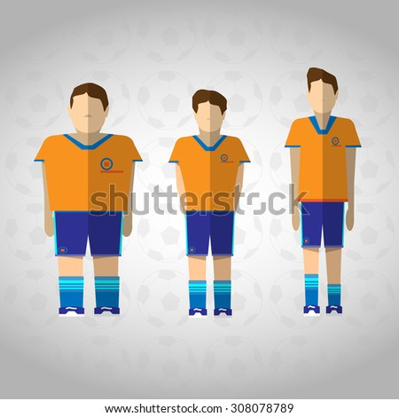 Team of Three Football or Soccer Players. Sportswear flat design. Three men wearing blue boots with blue socks, shorts and orange t-shirt. Digital background vector illustration. - stock vector