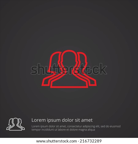 team outline thin symbol, red on dark background, logo editable, creative template  - stock vector