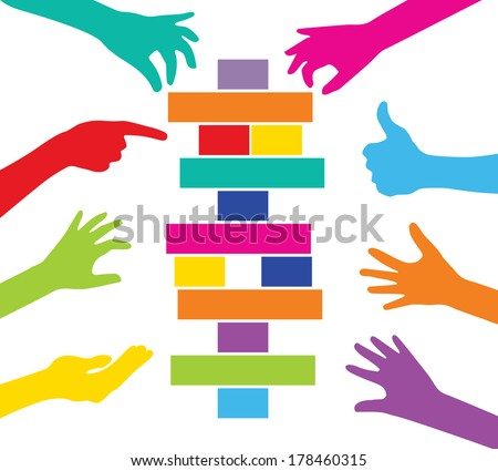Team play with colorful pieces construction - stock vector