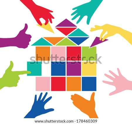 Team play with colorful pieces house - stock vector