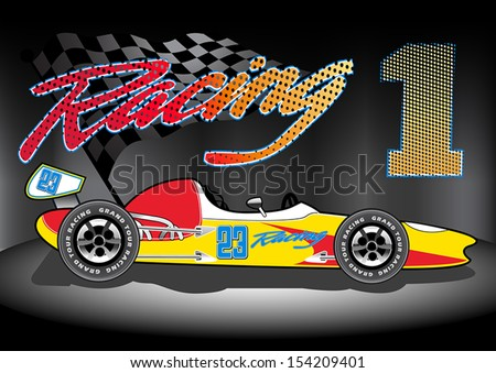 Team 1 Racing - stock vector
