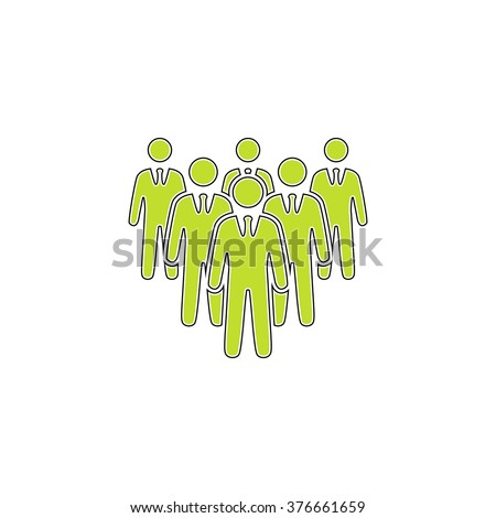 team simple flat icon - stock vector