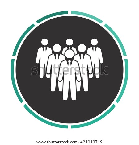 team Simple flat white vector pictogram on black circle. Illustration icon - stock vector