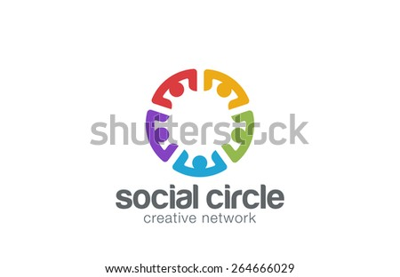 Team Social network Logo design template. Community Partnership Teamwork Logotype icon. - stock vector