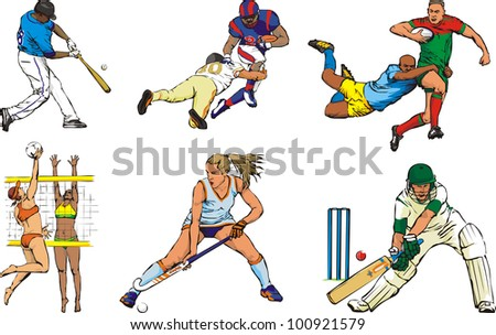 team sport icons - outdoor - stock vector