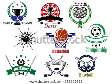 Team sports emblems and logo for football or soccer, ice hockey, darts, basketball, billiards, tennis, bowling, baseball, table tennis with sporting equipments and heraldic design elements - stock vector