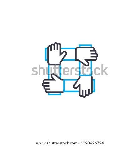 team support vector thin line stroke stock vector 1090626794