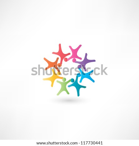 Team symbol. Multicolored people - stock vector