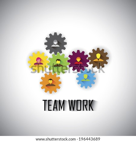 team & teamwork of corporate employees & executives - concept vector graphic. This illustration can also represent worker management, gears & cogwheels working together, flat design - stock vector
