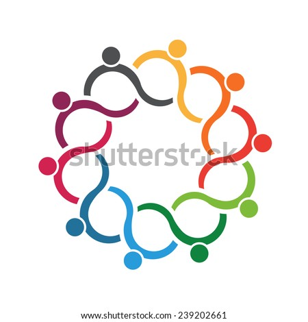Team 10 wave group of people. Vector design - stock vector