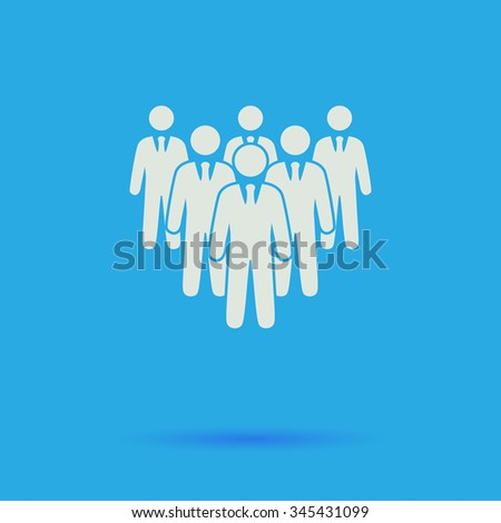 team White flat vector simple icon on blue background with shadow  - stock vector