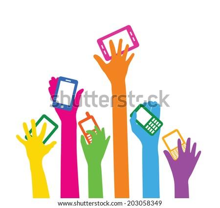 Team with smart phones - stock vector